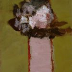 2002, Vase rose avec fleurs blanches, oil on canvas, 12x10 inches