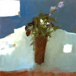2004, Flowers with Squared Pink, oil on canvas, 24x24 inches