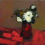 2012, White Flowers with Coral, oil on linen, 16x16 inches